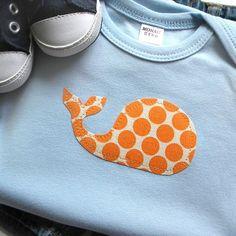 Size 03 months  Whale Bodysuit  Sky Blue with Orange by veryKIKI, $10.00