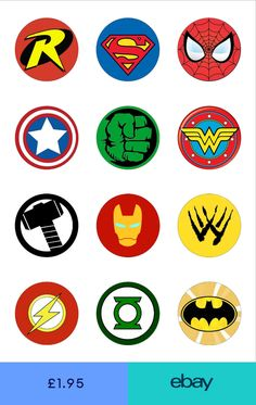 12 Round Circle Superhero Logo Edible Wafer Paper Cake Cupcake Toppers for sale online Avengers Birthday, Superhero Birthday Party, Boy Birthday, Cake Birthday, Superhero Party Invitations, Birthday Popcorn, Batman Party, Birthday Parties, Superhero Cake