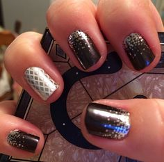 Midnight Celebration matched with Metatllic Silver and White Fishnet Jamberry nail wraps! Perfect for New Years! Get them here: karaodell.jamberrynails.net