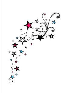 stars *swirls birds* back over the shoulder tattoo* kids names Tattoo Femeninos, Tattoo Mama, Tattoo Tribal, Body Art Tattoos, Tattoo Kids, Star Foot Tattoos, Tatoos, Swirl Tattoo, Tattoos With Kids Names