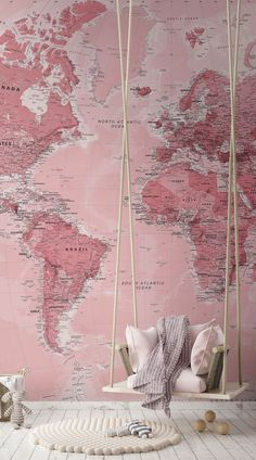 Classic world map wallpaper stylish map mural muralswallpaper our pink world map wall mural is a beautifully classic detailed textbook style map with gumiabroncs Gallery