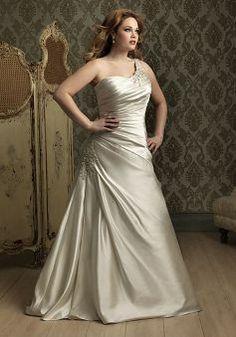Romantic A line Floor Length Satin Asymmetric Waist Chapel Train Big Bridal Gowns - Lunadress.co.uk