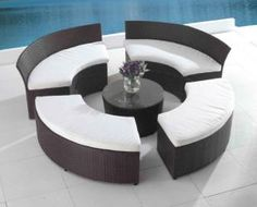 Round Outside Patio Furniture | Circular Outdoor Lounge Set