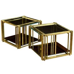 Pair of Vintage Brass and Glass Side Tables   From a unique collection of antique and modern side tables at http://www.1stdibs.com/furniture/tables/side-tables/