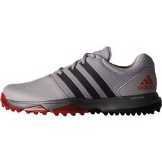 Adidas Men's 360 Traxion Golf Shoes Light Onix/Core Black/Scarlet - Men's Golf Shoes at Academy Sports