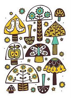 Mushroom postcard design by illustrator and print maker Ruth Green.