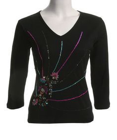 Another great find on #zulily! Black Embellished V-Neck Top by Le Mieux #zulilyfinds