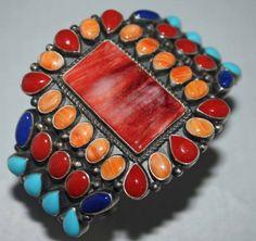 Kirk Smith Navajo Cluster Bracelet Sterling Silver Amp Multi Stone | eBay