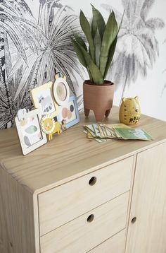 Children's 2-door 1-drawer wardrobe Mini Jungle   Maisons du Monde Baby Cupboard, 4 Photos, Dresser As Nightstand, Aperture, Mini, Kids Room, Drawers, Closets, Frame