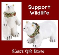 Support World Wildlife Foundation set of TWO Polar Bear figurines Christmas holiday winter decor $29.95 http://stores.ebay.com/Slems-Gift-Store  or order directly from me at dslem3@yahoo.com for 10% off your order!