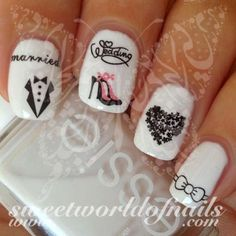 Wedding Nail Art Married Tuxedo High Heels Heart Bow Nail Water Decals Water Slides