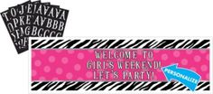 *****Zebra Party Personalize It Giant Sign Banner Kit - Party City