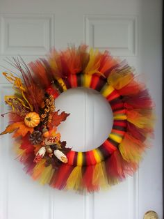 Thanksgiving fall autumn tutu tulle wreath by SusiesCraftyDesigns, $50.00
