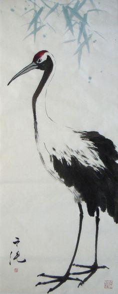 Leisure and Longevity / 怡然康健 Japanese Ink Painting, Sumi E Painting, Japan Painting, Pallet Painting, Chinese Painting, Japan Watercolor, Watercolor Bird, Crane Drawing, Asian Artwork