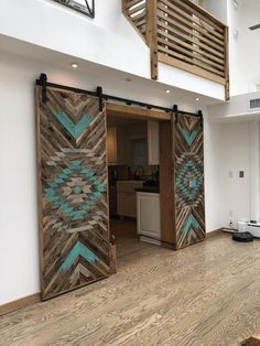 Rustic Tribal Aztec Sliding Barn Door - Home Maintenance - No Make Up - Glasses Frames - Homecoming Hairstyles - Rustic House Western Homes, Interior Barn Doors, Door Design, My Dream Home, Home Projects, Furniture Projects, Future House, Rustic Decor, Rustic Barn