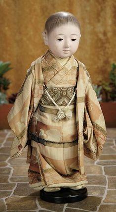 A Matter of Circumstance: 213 Japanese Paper Mache Ichimatsu Play Doll in Original Costume and Presentation Box