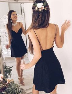 Simple Black Deep V Neck Short Prom Dress,Spaghetti Backless Cheap Homecoming Dress,Party Dre from rainbow umbrella - Vestidos - Kleid Cheap Homecoming Dresses, Cute Prom Dresses, Black Party Dresses, Sexy Dresses, Evening Dresses, Dress Party, Backless Dresses, Fashion Dresses, Graduation Dresses