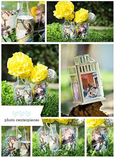 diy photo centerpieces using vases, jars and bottles. so easy!