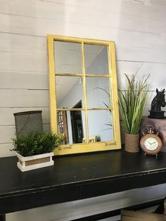 Yellow Mirror made from a Hickory NC Home by TheDecorativeCompany Window Pane Mirror, Home Décor, Farmhouse, Distressed Furniture, Rustic, Wall Mirror, www.etsy.com/shop/thedecorativecompany