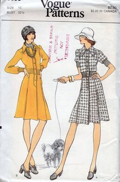 FREE US SHIP Vogue 8650 Vintage Retro 1970s 70s Step In Inverted Pleat Shirtdress Dress Uncut 10 Bust 32.5 Vintage Sewing Pattern by LanetzLiving on Etsy