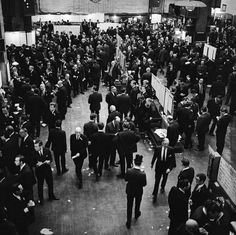 Traders on the floor of the London Stock Exchange, 1950s.