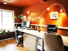 Furniture, Wall Mounted S Track Lighting Fixtures For Small Modern Home Office Design With Dark Orange Wall Interior Color Decor Plus White Wooden Desk With File Cabinet Storage Ideas ~ Office Lighting Cozy Home Office, Home Office Decor, Office Ideas, Desk Ideas, Room Ideas, Office Interior Design, Office Interiors, Interior Ideas, Home Design