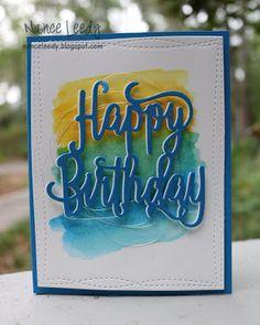 Stampin' Up Happy birthday die handmade cards. Bday Cards, Birthday Cards For Men, Handmade Birthday Cards, Male Birthday, Birthday Nephew, Teen Birthday, Birthday Presents, Watercolor Card, Watercolor Pencils