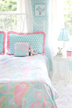 Pixie Baby in Aqua is a must have for big kid bedding! This bedding will be the focal point of your little girl's room.