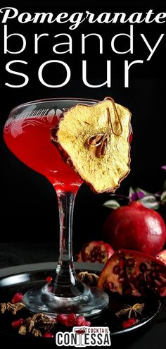 More seasonal flavors today with this Pomegranate Brandy Sour. I'd wanted to use gin, but I preferred the softer, baking spice and raisin flavors of the Cognac that had been hiding behind the bourbon for a few weeks. Paired with a little pear, some lemon juice, and a dash of bitters it's glorious. You may see more pomegranates in my future.   @cocktailcontessa #Pomegranatecocktail #brandycocktail #craftcocktails Fruity Alcohol Drinks, Drinks Alcohol Recipes, Alcoholic Drinks, Pomegranate Uses, Pomegranate Cocktails, Brandy Cocktails, Winter Cocktails, Dried Pears, Pear Brandy