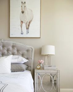Throwing it back to this pretty guest room we did a couple years ago! Still love the feminine vibes and the tufted headboard! - Architecture and Home Decor - Bedroom - Bathroom - Kitchen And Living Room Interior Design Decorating Ideas - Neutral Paint Colors, Exterior Paint Colors, Gray Bedroom, Home Decor Bedroom, Decor Interior Design, Interior Design Living Room, Room Interior, Worldly Gray, House Design