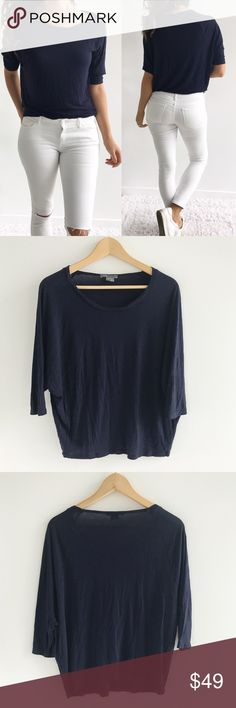 """Vince Navy Top Vince Navy Tee! Excellent condition. Perfect basic top to add to your casual wear. Super comfortable and soft. 100% rayon. Chest-38"""" length-21"""" size medium. Vince Tops Blouses"""