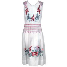 1920's Bohemian Embroidered White-Cotton Floral Flapper Peasant Dress