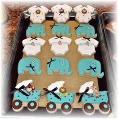 Baby shower themes like this Jungle Theme is another very popular one; and as you can see . . . At Sandy's Sugar Cookies we have created an exceptional assortment of beautiful cookies to accommodate this Baby Shower Jungle Theme.