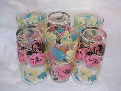 Set of 6 Vintage Hazel Atlas Glasses, Pink, Yellow Flowers, Glassware, Mid Century, 1950s, 1960s, Vintage Entertaining, Beverage