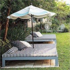 Spectacular idea cheap outdoor furniture 10 diy patio ideas that are Backyard Projects, Outdoor Projects, Backyard Patio, Backyard Landscaping, Backyard Seating, Patio Bed, Landscaping Design, Sloped Backyard, Backyard Ideas On A Budget