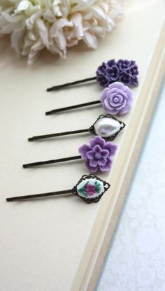 Purple Flower Hair Pins. Shades of Lavender, Lilac, Amethyst Bobby Floral Hair Accessories.