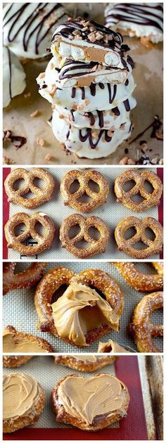 Double Chocolate Dipped Peanut Butter Stuffed Pretzels - ready in just minutes and SO impressive!
