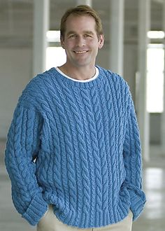 Ravelry: Bazic Men's Cabled Crewneck Pullover pattern by Kathy Zimmerman