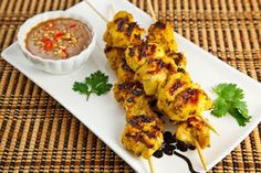 be healthy-page: Chicken Satay with Spicy Peanut Dipping Sauce