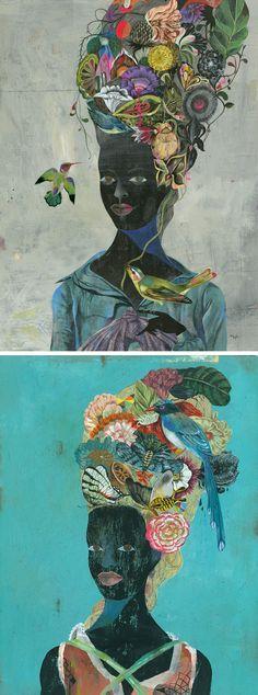 Black Antoinette by Olaf Hajek | contemporary illustration | nature-inspired art | illustrated ladies | painted portraits
