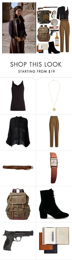 """""""The Mummy Returns- Evelyn O'Connell inspired outfit..."""" by elisehart ❤ liked on Polyvore featuring Skin, Orit Elhanati, Lost & Found, A.P.C., Hollister Co., FOSSIL, Joie, Smith & Wesson and Mark & Graham"""