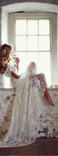 Boho-Chic Lace Off the Should Wedding Dress :: 2017 Wedding Trends