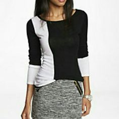 Express Black with White Detail Sweater-Small This is an elegant  sweater from Express in a small size. It is a lightweight sweater perfect for daily wear, or even your family holiday get togethers. Would look amazing paired with bright colored statement jewelry or fun colored pants! Gently worn on two occasions (one- A business deal dinner, two- A half day on a client site doing observations). No rips, stains, or holes. Express Sweaters
