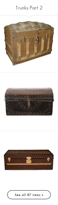 """Trunks Part 2"" by darklinghatter ❤ liked on Polyvore featuring home, home decor, small item storage, wooden trunk, wooden plates, wood trunk, wooden home decor, iron home decor, louis vuitton trunk and louis vuitton"