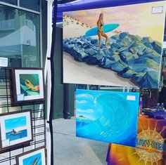 My painting On the Rocks is now on display at local art festivals. Beach Paintings, Beach Artwork, Seascape Paintings, Landscape Painting Artists, Original Art, Original Paintings, Surf Art, Ocean Art, Art Festival