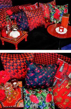 $139.95 Set of 4 Interior Designed Cushion Covers Cushion Cover Designs, Cushion Covers, Red Interior Design, Interior Decorating, Maximalist Interior, Rose Trellis, Red Cushions, Red Rooms, Roomspiration