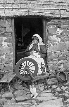 Irish Life - Woman at Spinning Wheel w/ cat companion. Old Pictures, Old Photos, Vintage Photos, Spinning Wool, Spinning Wheels, Hand Spinning, Images Of Ireland, Irish Cottage, Irish Blessing