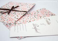 Convite casamento marrom e rosa - Galeria de Convites
