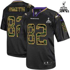 NFL NIKE Baltimore Raven's #82 Torrey Smith Black Camo Fashion With Super Bowl Patch Men's Game Jersey