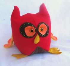 Whoo Loves You Red Felt Stuffed Owl Animal Toy by FlakyFriends